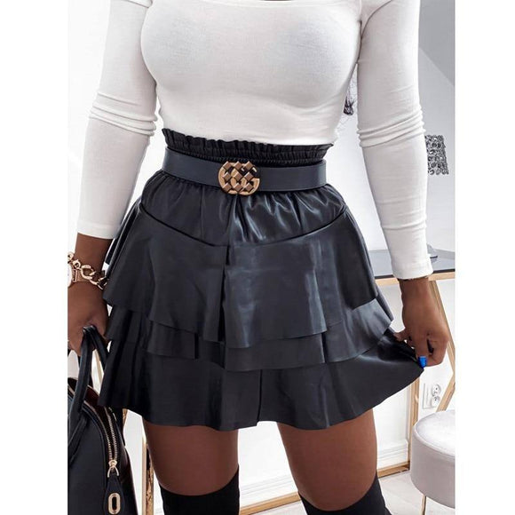 Sexy Skirt Women'S Pu Leather Skirt 2021 Solid Color High Waist Elastic Band Cascading Lotus Lace Lady Sexy Loose A-Line Mini Skirt 2021 Party Wear
