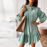Vintage Ruffles Button Dress 2020 Women Stand Collar Lantern Sleeve Plus Size Female Mini Dress 2020 Vestidos Autumn New