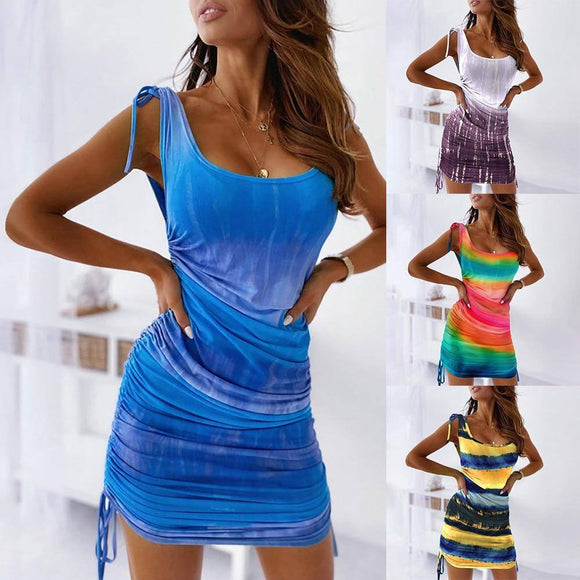 Summer Sleeveless Tie-Dye Mini Tank Dress 2020 Casual Bodycon Strap Dress 2020 For Women Fashion Woman Sundress Robe Femme D30