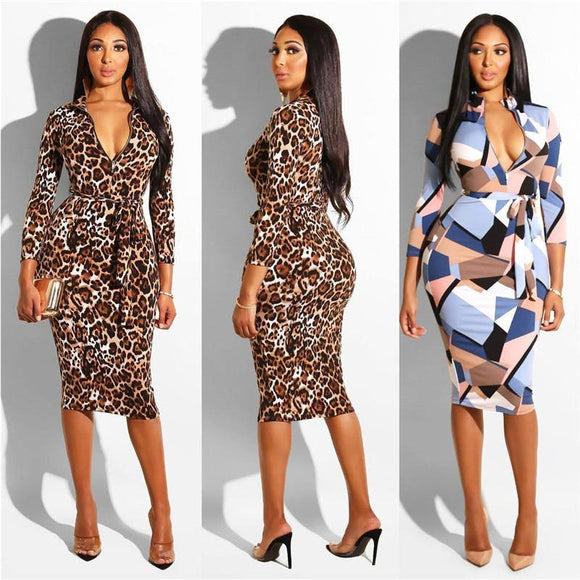 Hot Women Bodycon Deep V-Neck Bodycon Floral Dress 2020 Lace-Up Belt Leopard Plaid Print Evening Party Club Empire Short Pencil Dress 2020