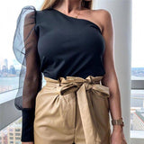 Women Mesh See Through Bodycon Bandage Jumpsuit Bodysuit Puff Sleeve Patchwork Cold Shloulder Bodysuit Leotard Romper Top 2020