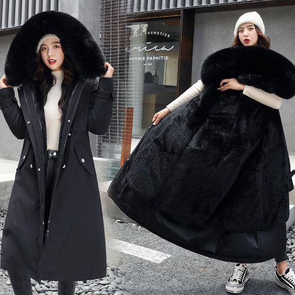 Fitaylor New Winter Long Coat 2020 Women Warm Thickness Hooded Parkas 2020 Plus Size Large Fur Collar Embroidery Jacket 2020 Padded Coat 2020 Women's Trench Coat 2020