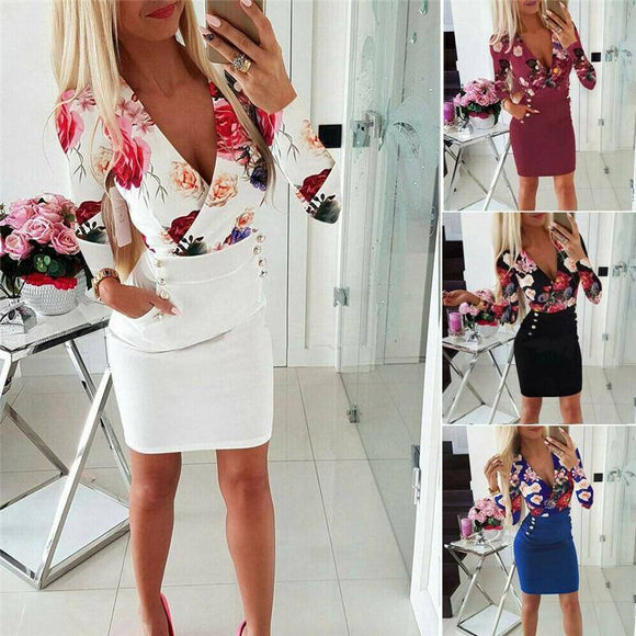 Sexy Women Deep V-Neck Long Sleeve Bodycon Dress 2020 Ladies Floral Print Clubwear Short Mini Dress 2020 Ol Patchwork High Waist Dress 2020