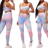 Fashion Women Two Piece Set Tie-Dye Vest Top 2020 And Tight High Waist Trousers