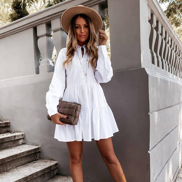 Women Autumn Long Sleeve White Pleated Shirt Dress 2020 Winter Casual Ruffles Loose Mini Dress 2020 Ladies A Line Office Vestidos