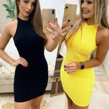 Sexy Off Shoulder Halter Pack Hip Sleeveless Dress 2020 Women Pencil Backless Hollow Out Bodycon Short Mini Dress 2020 Clubwear