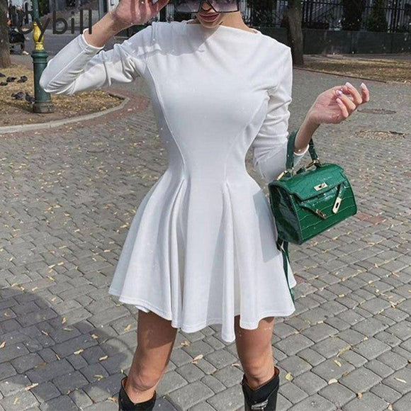 Cybill O Neck Long Sleeve Wrap Dress 2021 Solid Autumn Winter A-Line Dress 2021 Women High Waist Casual Mini Short Dress 2021