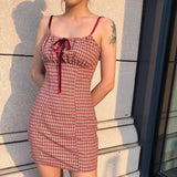 Plaid Mini Dress 2020 Women Spaghetti Strap Bow Summer Teenage Girl Style Dress 2020 Lady Casual Vacation Short Dress 2020 New