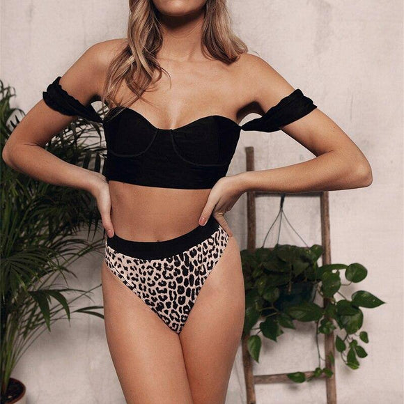 Summer Sexy Women Leopard Printed Off Shoulder Short Sleeve Crop Top 2020 Women Two Pieces Women Bikinis Sets Swimwear Women