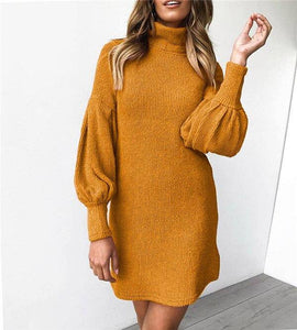 New Arrival Turtleneck Lantern Sleeve Midi Dress 2020 Autumn Winter Women Casual Loose Package Hip Pink Yellow Gray Dress 2020 Female