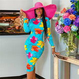 Fall Spring Style Dress 2020 Sexy O-Neck Long Sleeve Bodycon Slim Dress 2020 Party Beach Floral Print Midi Knee Length Pencil Dress 2020