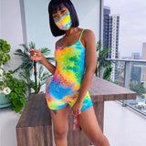 Tie Dyeing Print Playsuit Jumpsuit 2020 Rompers New Sexy Women Clubwear Sleeveless Strap Sports Summer Jumpsuit 2020 Shorts Trousers