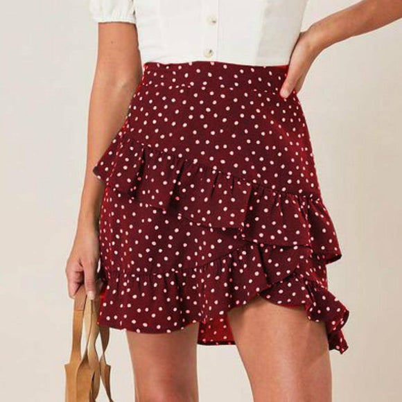 Sexy Skirt Women Sexy High Waist Skirt 2021 Red Polka Dot Printed Ruffled Women Skirt 2021 Warp Skirt 2021 Mini Skirt 2021 Bodycon Skirt 2021