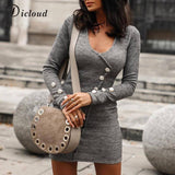 Elegant Knitted Women'S Dress 2020 Long Sleeve Button V Neck Mini Office Lady Dress 2020 Sexy Autumn Winter Ladies Clothes