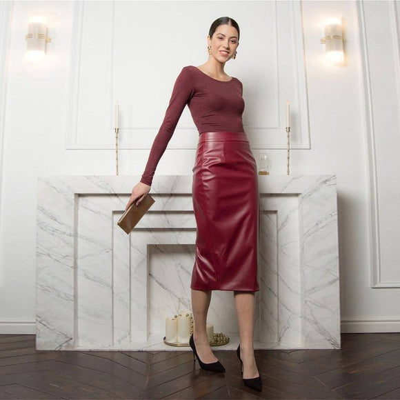 Sexy Skirt Moarcho Casual High Waist Pu Leather Skirt 2021 Woman Elegant Fit Back Split Knee-Length Pencil Skirt 2021 New Fashion