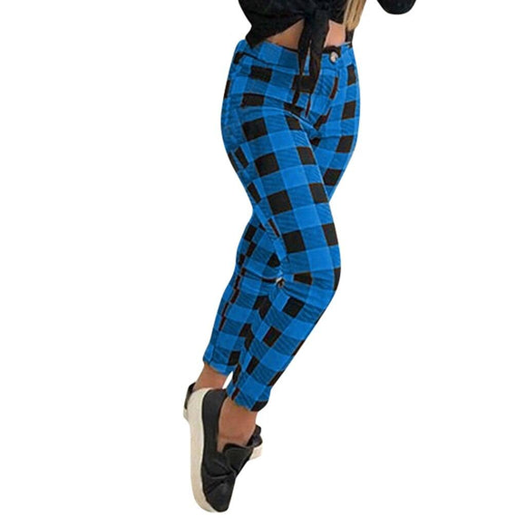 Plaid Printed Trousers Women Slim And Fit Lattice Pattern High Waist Sexy Stretchy Pencil Pants Pantalon Femme Pants Women