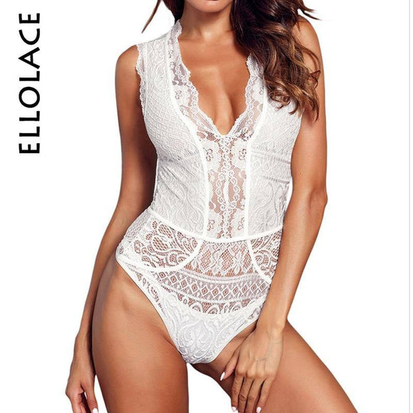 Ellolace Neon Lace Elegant Bodysuit Women Deep V Female Body Mesh Sleeveless Transparent Sexy Bodycon Summer White Bodysuits