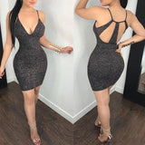 Sexy Clubwear Hot Backless Vestido 2018 New Women Sexy Metallic Bodycon Shiny Evening Party Clubwear Pencil Club Mini Dress 2020