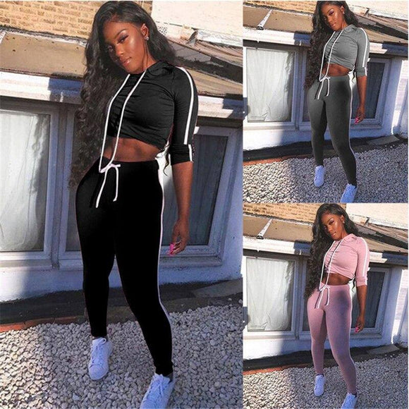 Autumn Winter Two Piece Set Women Tracksuit Long Sleeve Crop Top Sweatshirt 2020 Pant Sweat Suit Elegant Ladie Streetwear 2 Piece Set