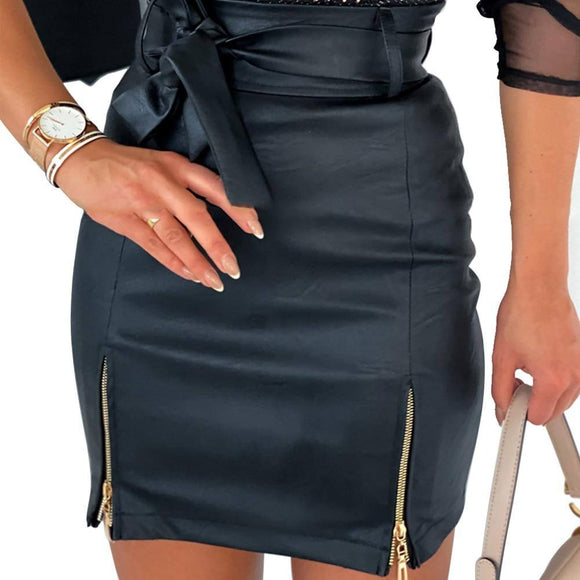 Sexy Skirt Women Sexy Fashion Solid Color Skirt 2021 High Waist Pu Leather Mini Skirt 2021 A-Line Bodycon Pencil Short Zipper Skirt 2021