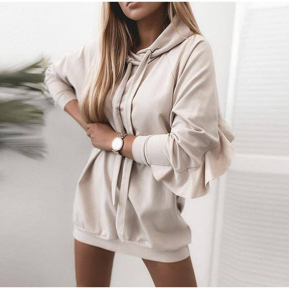 Women Ruffles Mid-Length Hooded Sweatshirt Autumn Winter Mini Hooded Dress 2020 Pullover Long Sleeve Casual Loose Sweatshirts Hoodies