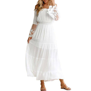 Women Spring Summer Sexy Off Shoulder Lace Bohemian Long Dress 2020 Casual Flare Sleeve Slash Neck White Hoilday Beach Dress 2020 D30