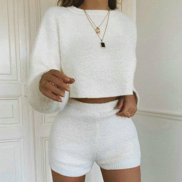 Sleeve White Cop Top 2020 Fall Clothing Casual Round Neck Solid Color Long Sleeve Crop Top 2020 Elastic Waist Women Shorts Two Piece Outfits For Women