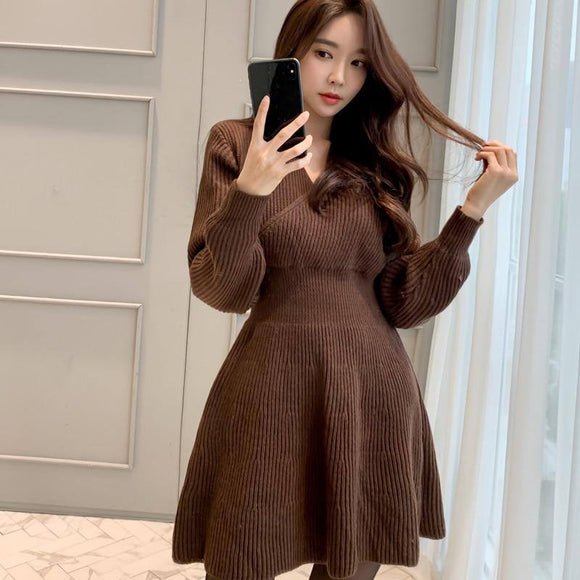 Cinessd Jersey Dress 2020 For Women Knit Warm Long Sleeve V Neck Winter Female Black Party Night Full Casual A-Line Dress 2020