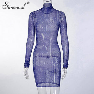 Mesh See Through Fall Bodycon Mini Dress 2020 Long Sleeve Women Sexy Hot Club Partywear Sheer Hollow Out Print Dress 2020