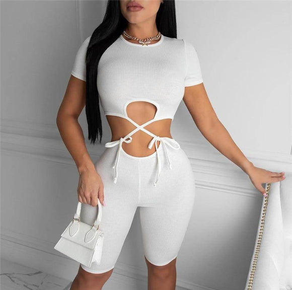 Hollow Out Lace-Up Bodycon Slim Jumpsuit 2020 Rompers Sexy Women O-Neck Short Sleeve Summer Hot Sale Jumpsuit 2020 Club Streetwear