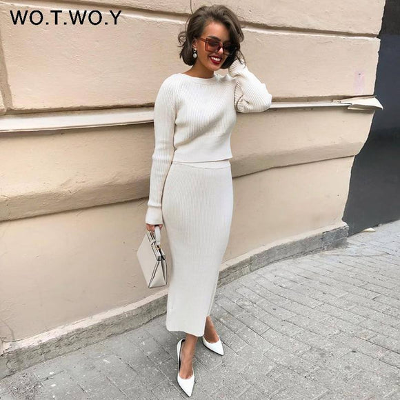 Knitted Sweater 2020 And Skirt Two Piece Set Women Autumn Slim Fit Crop Tops Women Sweater 2020 Skirts 2 Piece Sets Womens Outfits