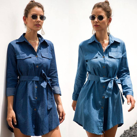 Women Casual Denim Shirt Dress 2020 Ladies Long Sleeve Belt Turn Down Collar A Line Pockets Button Office Lady New Autumn Mini