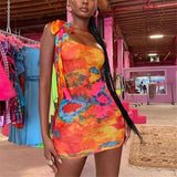 Tie Dyeing Print Off Shoulder Single Strap Dress 2020 Clubwear Sexy Women Bodycon Summer Party Lace-Up Dress 2020 Short Mini Dress 2020