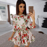 Fashion Ruffle Trim Sashes Women Summer Dress 2020 3/4 Sleeves Round Neck Dot Print Casual Dress 2020 Girls Sweet Cute A Line Mini Dress 2020
