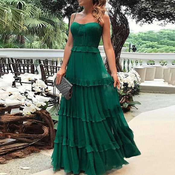 Women Summer Sexy Spaghetti Strap Long Dress 2020 Elegant Soild Color A-Line Sleeveless Square Collar Party Maxi Dress 2020 D30