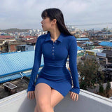 Skinny Ribbed Knitted Cotton Turn-Down Neck Long Sleeve Dress 2020 Women Casual Solid Basic Mini Dress 2020 Button Outfits