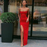 Autumn Women Spaghetti Strap Dress 2020 Autumn Sexy Split Solid Slim Lady Ankle Length Vintage Wear Dress 2020 New