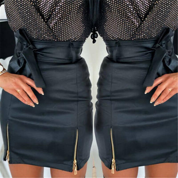 Sexy Skirt Fashion Women Sexy Pu Leather Skirt 2021 Office Solid Color High Waist Stretch Bodycon Slim Pencil Skirt 2021 Short Mini Skirt 2021 With Belt
