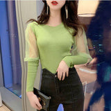 Mesh Full Lantern Sleeve Knitted Sweater Crop Tops Girls O-Neck Sweet Stretchy Knit Sweater Pullovers For Women Real Photos