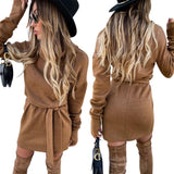 Sale Solid Long Sleeve Sweater Dress 2020 Women Winter Turtleneck Dress 2020 Ladies Elegant Belted Knitted Dress 2020 Mini Vestidos Robe D30