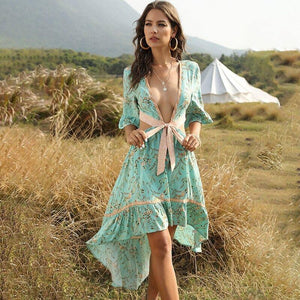 Casual Boho Women Summer Backless Dress 2020 V-Neck Lady Vintage Floral Printed Shirt Dress 2020 Sexy Short Sleeve Beach Dress 2020 Vestido