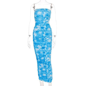 Summer Women Dress 2020 Spring Printed Sexy Bodycon Spaghetti Strapless Sleeveless Maxi Long Party Club Dress 2020 Women Female