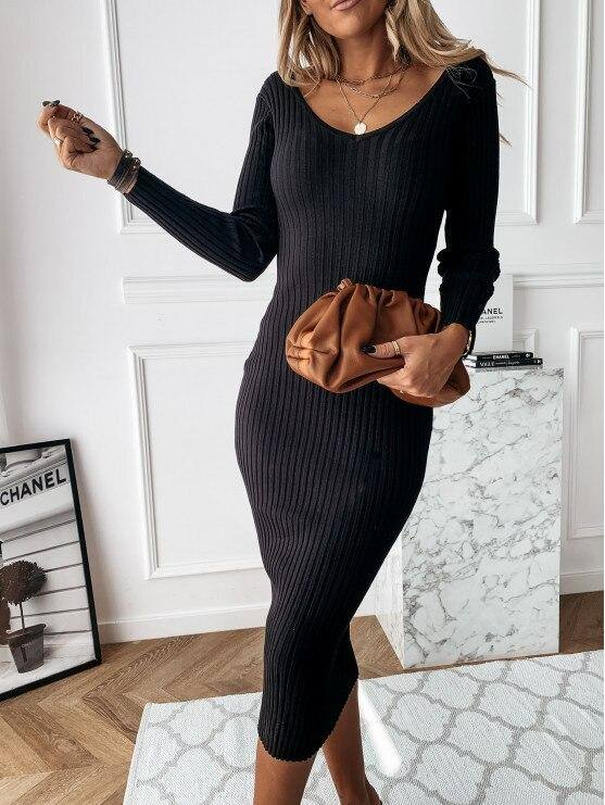 Sexy Double V Neck Backless Long Dress 2020 Women Autumn Long Sleeve Ribbed Party Dress 2020 Elegant Office Lady Bodycon Dress 2020