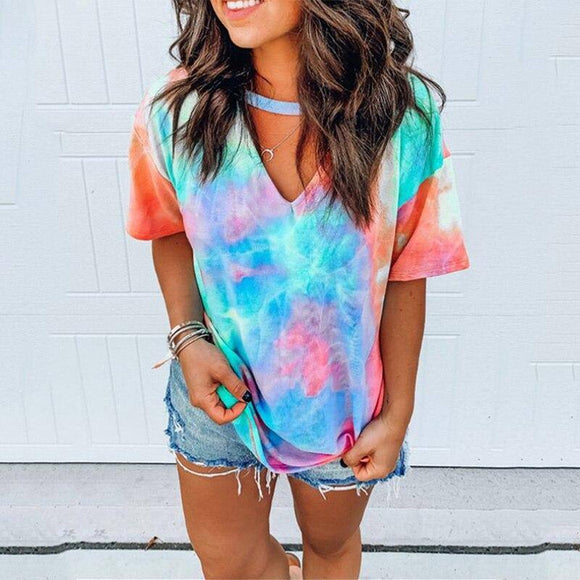 Hollow Out T-Shirt Tie Dye Top 2020 Tee Women Summer Short Sleeve Harajuku Camiseta Mujer Tee Shirt Femme Streetwear V-Neck Tee