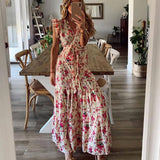 V-Neck Casual Women'S Wrap Dress 2020 Summer Floral Maxi Dress 2020 For Women Sleeveless Ruffle Dress 2020 Wedding Party Femme Robe D30