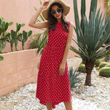 New Summer Women Dress 2020 O-Neck Sleeveless Slim Women Long Dress 2020 Fashion Dot Off Shoulder Casual Asymmetrical Dress 2020 Vestidos