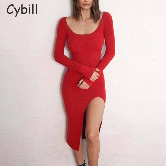 Cybill Square Collar Split Midi Dress 2021 Ribbed Knitting Long Sleeve Autumn Dress 2021 Red Straight Winter Dress 2021 Women