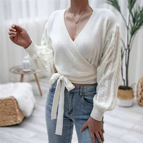 Women Sweater 2020 Knitted Autumn Cross Wrap Lantern Long Sleeve V Neck Rib Knitted Loose Lace Up Exposed Navel Crop Tops
