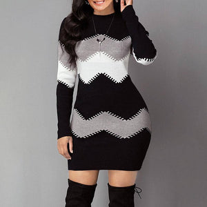 Autumn And Winter Long Striped Long-Sleeved Sweater Dress 2020 Long Multi-Color Slim-Fit Sweater Dress 2020 New Fashion Knitted Long Multi-Color Top