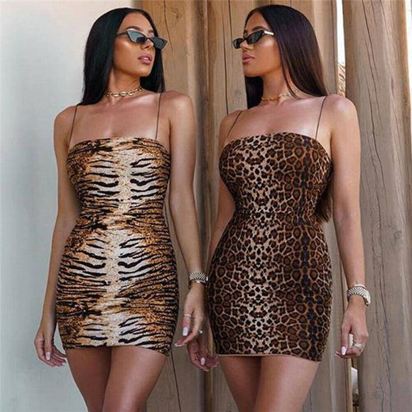 Fashion Women Sexy Off Shoulder Sleeveless Strap Dress 2020 Bodycon Clubwear Leopard Tiger Print Elastic Waist Mini Pencil Dress 2020
